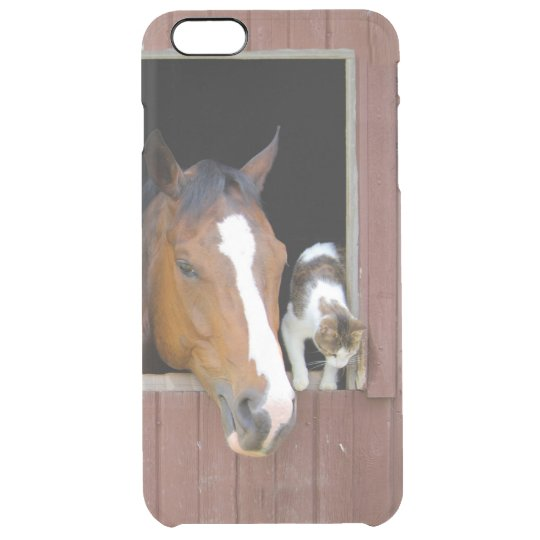 Cat and horse - horse ranch - horse lovers clear iPhone 6 plus case