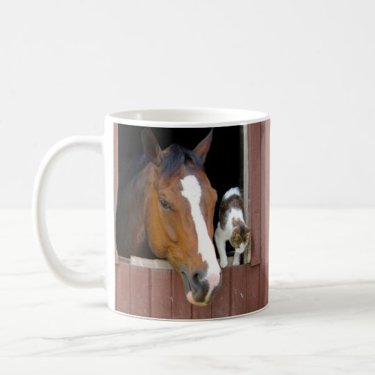 Cat and horse - horse ranch - horse lovers coffee mug