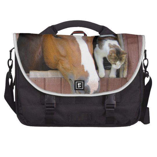 Cat and horse - horse ranch - horse lovers commuter bag