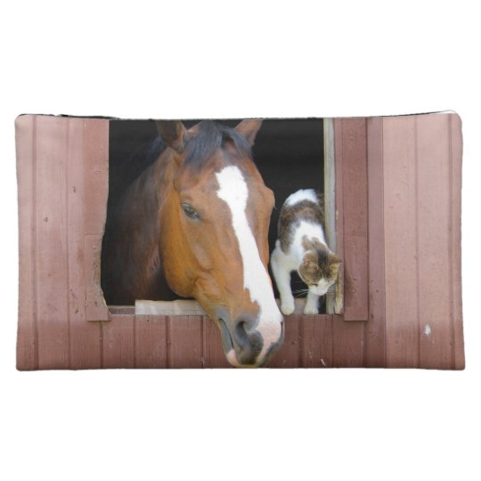 Cat and horse - horse ranch - horse lovers cosmetic bags