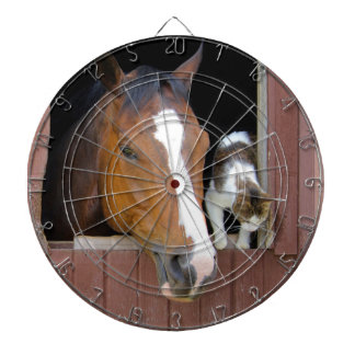Cat and horse - horse ranch - horse lovers dartboard