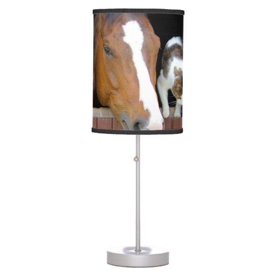 Cat and horse - horse ranch - horse lovers desk lamps