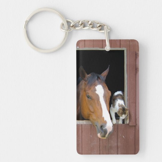 Cat and horse - horse ranch - horse lovers Double-Sided rectangular acrylic keychain