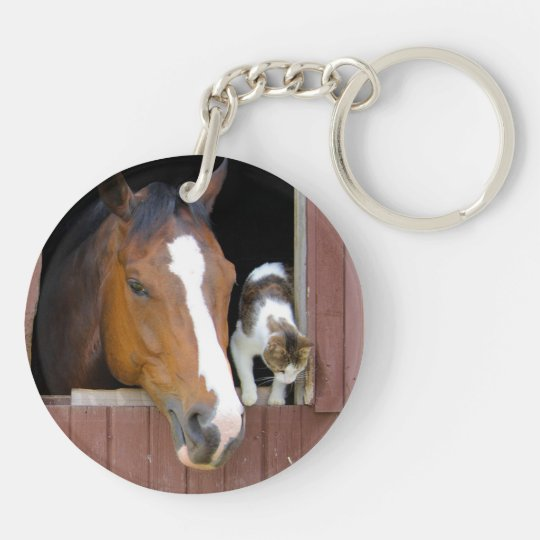 Cat and horse - horse ranch - horse lovers Double-Sided round acrylic keychain