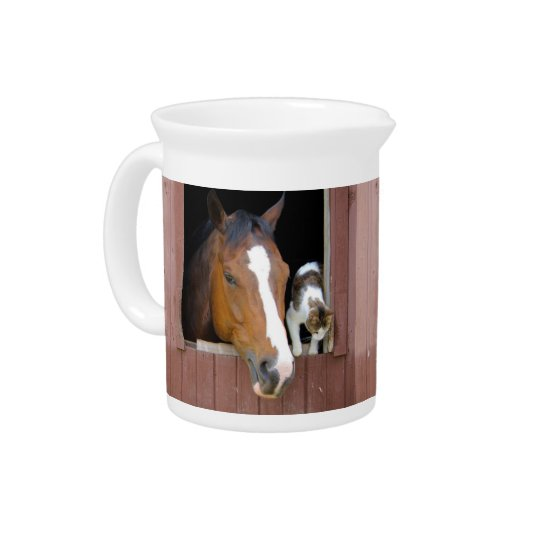 Cat and horse - horse ranch - horse lovers drink pitchers
