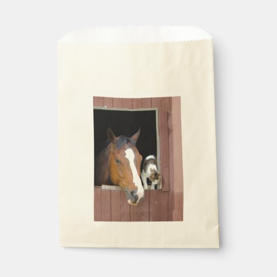Cat and horse - horse ranch - horse lovers favour bag