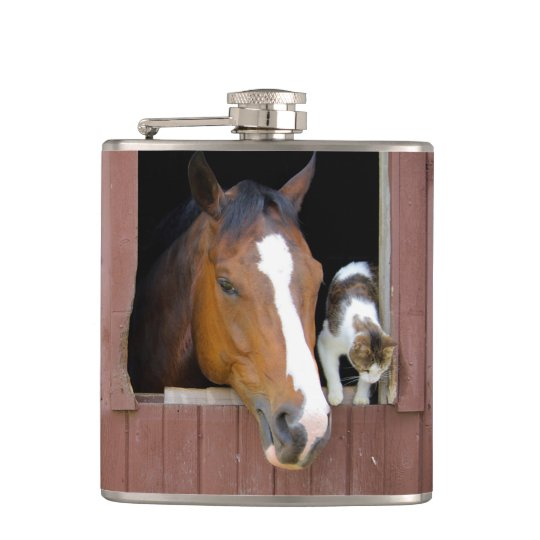 Cat and horse - horse ranch - horse lovers flasks