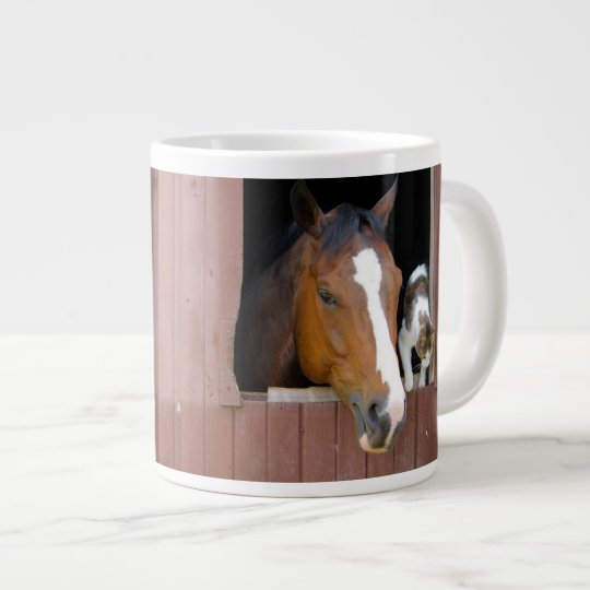 Cat and horse - horse ranch - horse lovers giant coffee mug