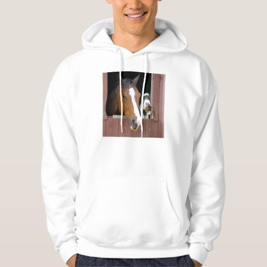 Cat and horse - horse ranch - horse lovers hoodie