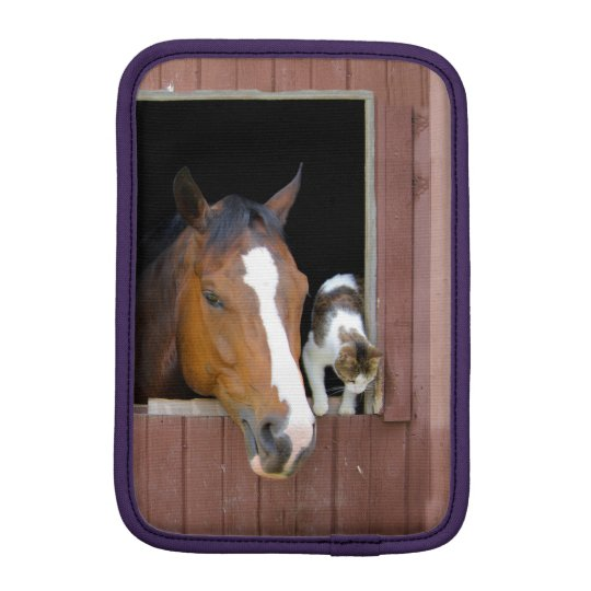 Cat and horse - horse ranch - horse lovers iPad mini sleeve
