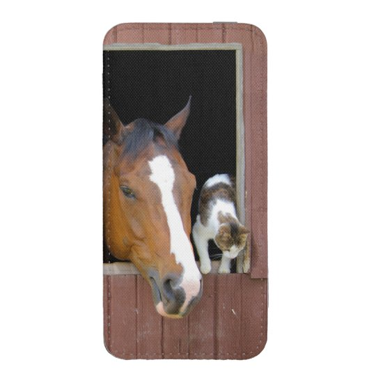 Cat and horse - horse ranch - horse lovers iPhone pouch