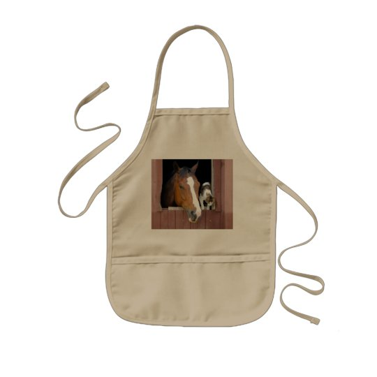 Cat and horse - horse ranch - horse lovers kids apron