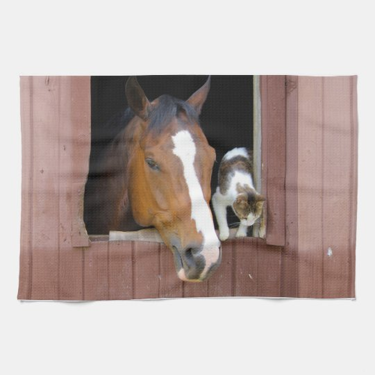 Cat and horse - horse ranch - horse lovers kitchen towels