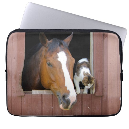Cat and horse - horse ranch - horse lovers laptop computer sleeves