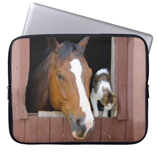 Cat and horse - horse ranch - horse lovers laptop sleeves