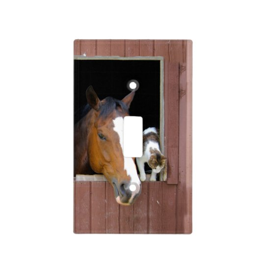 Cat and horse - horse ranch - horse lovers light switch cover