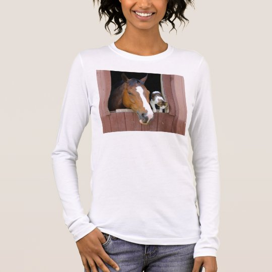 Cat and horse - horse ranch - horse lovers long sleeve T-Shirt