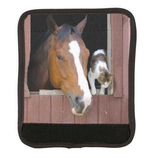 Cat and horse - horse ranch - horse lovers luggage handle wrap