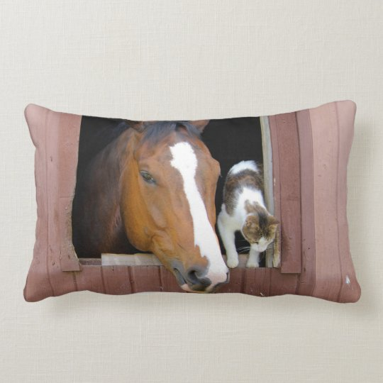 Cat and horse - horse ranch - horse lovers lumbar pillow