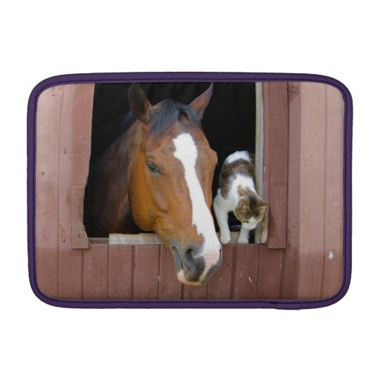 Cat and horse - horse ranch - horse lovers MacBook sleeve