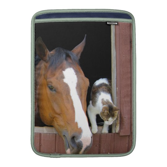 Cat and horse - horse ranch - horse lovers MacBook sleeves