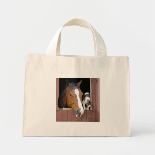 Cat and horse - horse ranch - horse lovers mini tote bag