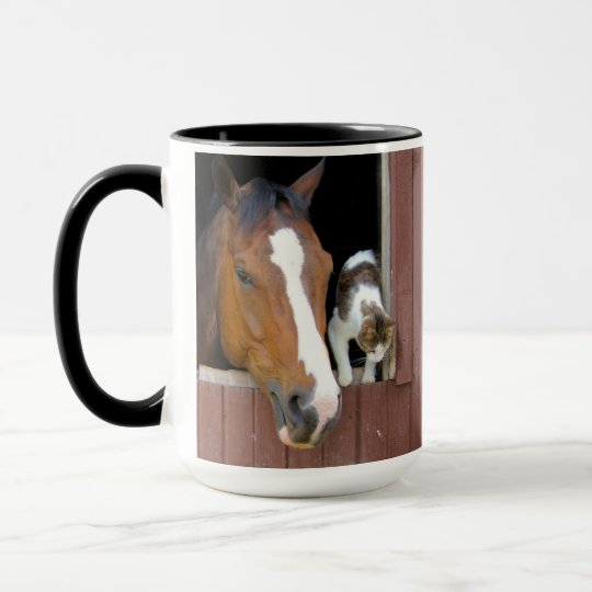 Cat and horse - horse ranch - horse lovers mug