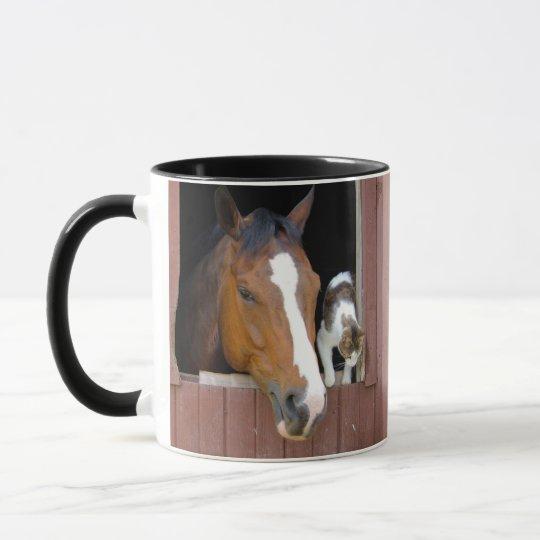 Cat and horse - horse ranch - horse lovers mug
