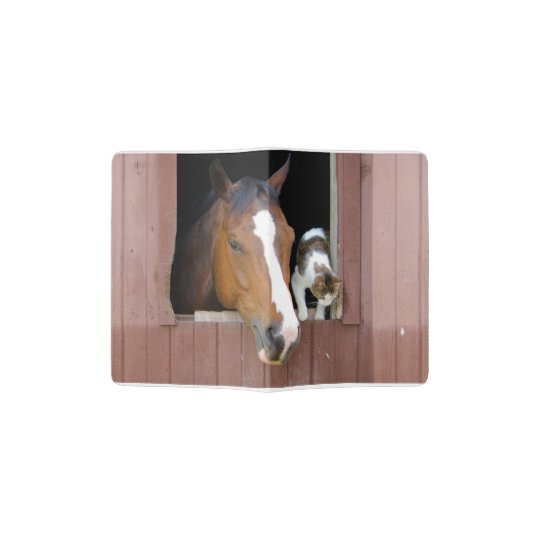Cat and horse - horse ranch - horse lovers passport holder