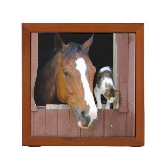 Cat and horse - horse ranch - horse lovers Pencil/Pen holder