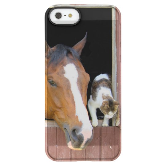 Cat and horse - horse ranch - horse lovers permafrost® iPhone SE/5/5s case