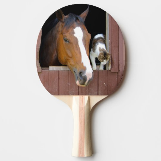 Cat and horse - horse ranch - horse lovers ping pong paddle