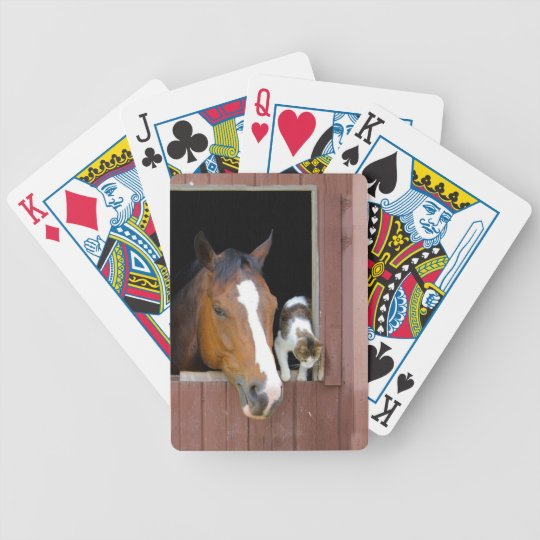 Cat and horse - horse ranch - horse lovers poker deck