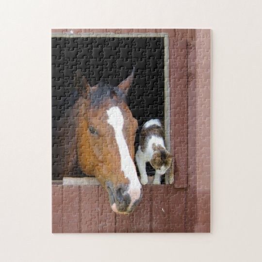 Cat and horse - horse ranch - horse lovers puzzle