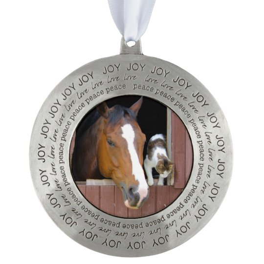Cat and horse - horse ranch - horse lovers round pewter ornament