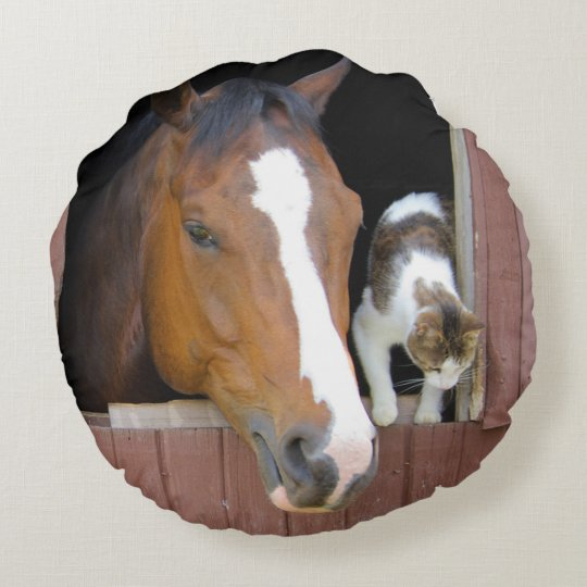 Cat and horse - horse ranch - horse lovers round pillow