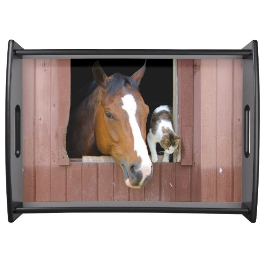 Cat and horse - horse ranch - horse lovers serving tray
