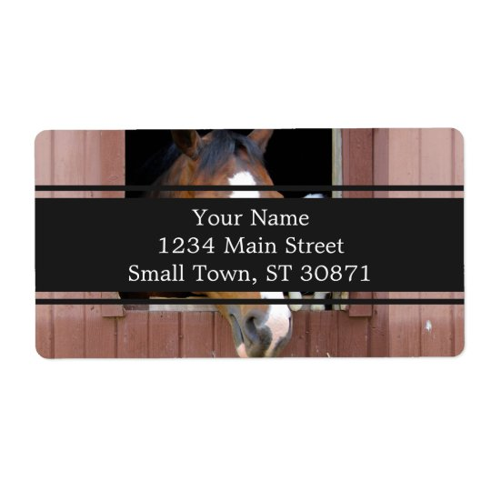 Cat and horse - horse ranch - horse lovers shipping label