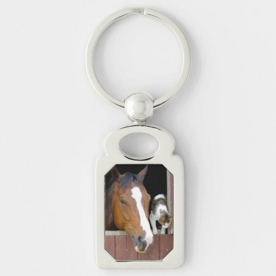 Cat and horse - horse ranch - horse lovers Silver-Colored rectangle keychain