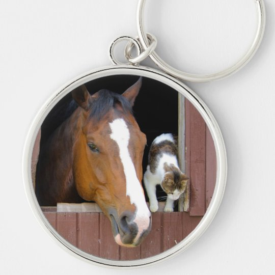 Cat and horse - horse ranch - horse lovers Silver-Colored round keychain