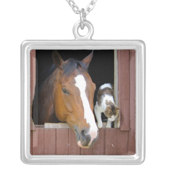 Cat and horse - horse ranch - horse lovers silver plated necklace