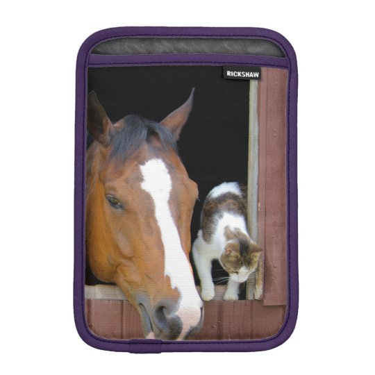 Cat and horse - horse ranch - horse lovers sleeve for iPad mini