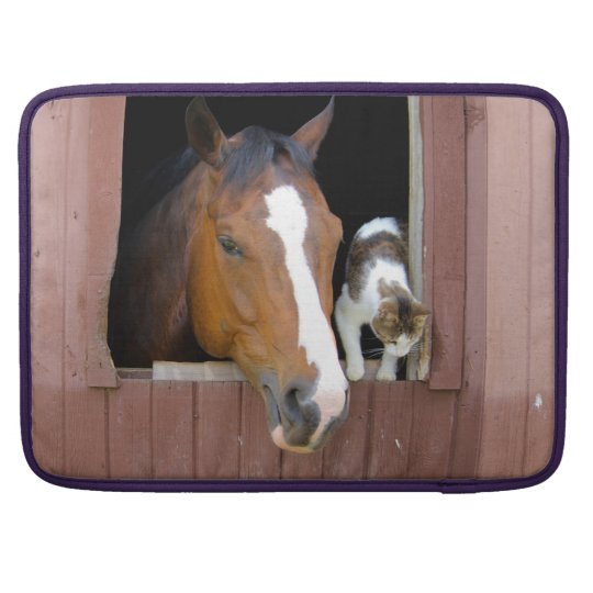 Cat and horse - horse ranch - horse lovers sleeve for MacBook pro