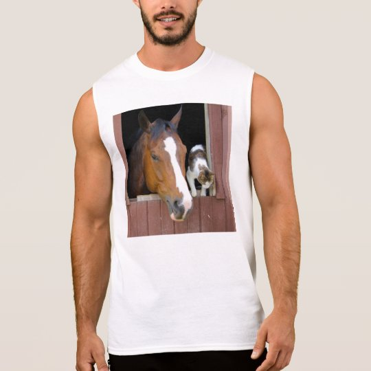 Cat and horse - horse ranch - horse lovers sleeveless shirt