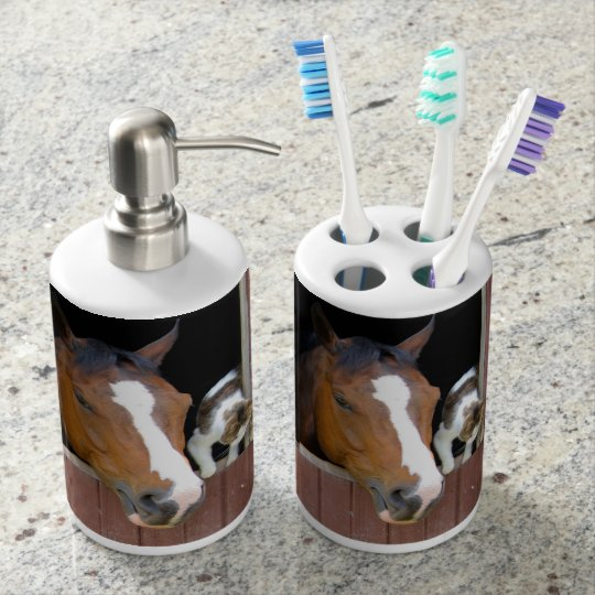 Cat and horse - horse ranch - horse lovers soap dispensers