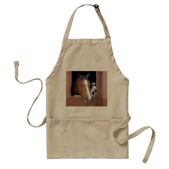 Cat and horse - horse ranch - horse lovers standard apron