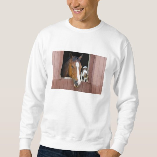 Cat and horse - horse ranch - horse lovers sweatshirt