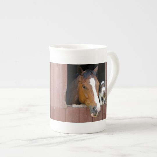 Cat and horse - horse ranch - horse lovers tea cup
