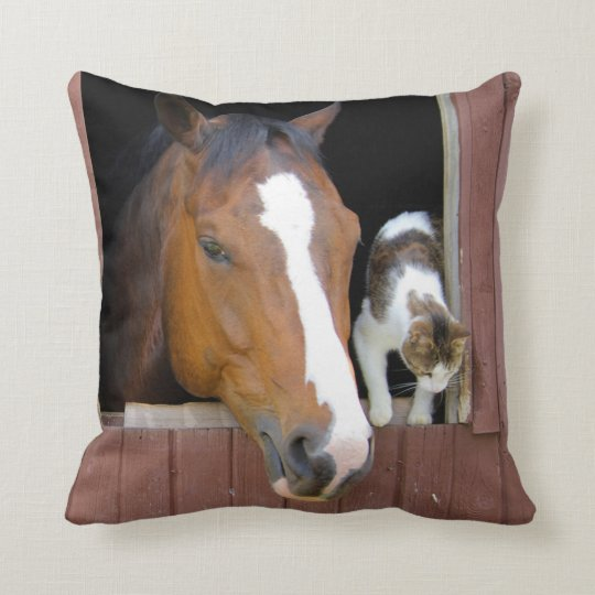 Cat and horse - horse ranch - horse lovers throw pillow