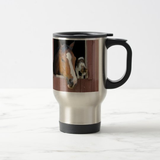 Cat and horse - horse ranch - horse lovers travel mug